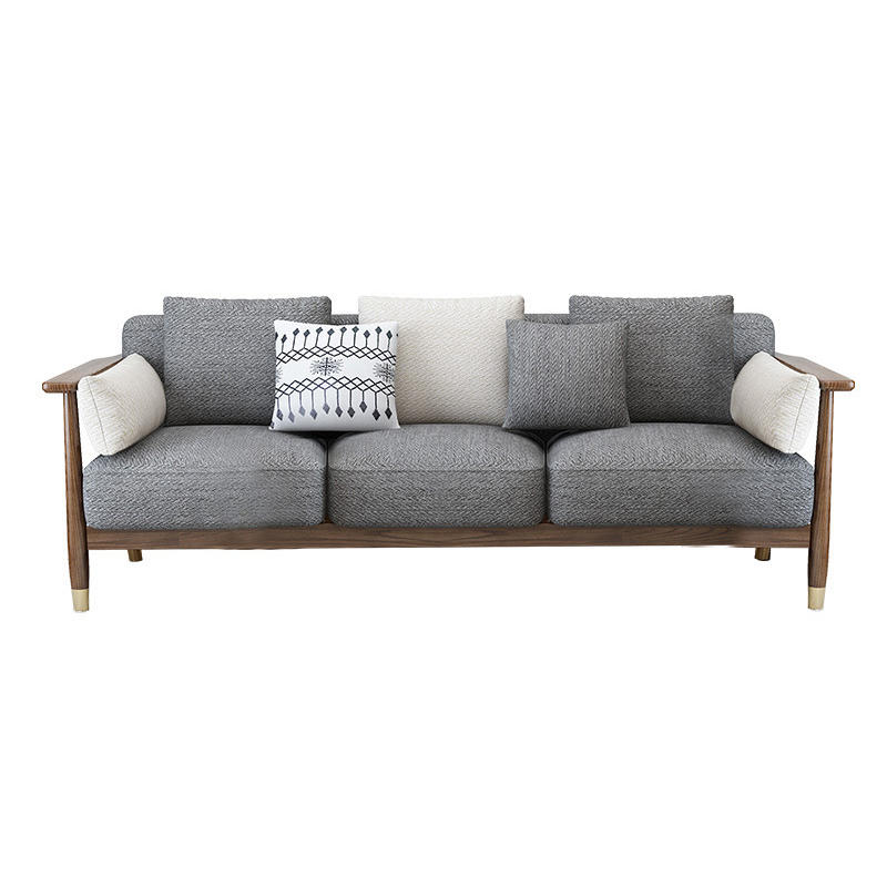 Morden custom brass feet double cloth color 3 seat natural solid wooden fabric sofa sectional set for home furniture