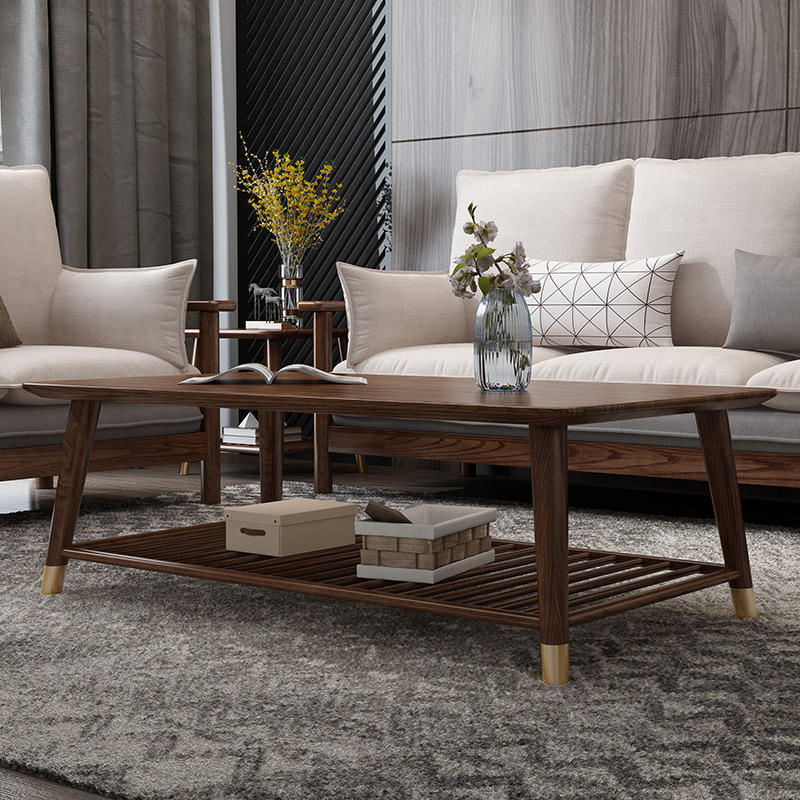 wholesale chinese low price home furniture large soild wood coffee table with Copper fot for living room