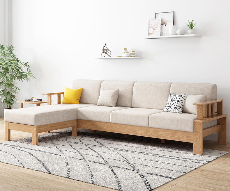 Nordic simple new modle custom ternd L shape solid wooden sectional sofa set with fabric cover for lining room furniture