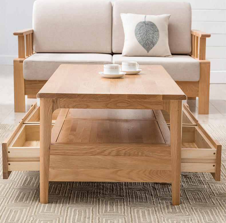new 2020 furniture coffee tables simple low price wood natural color storage coffee table sets solid wood