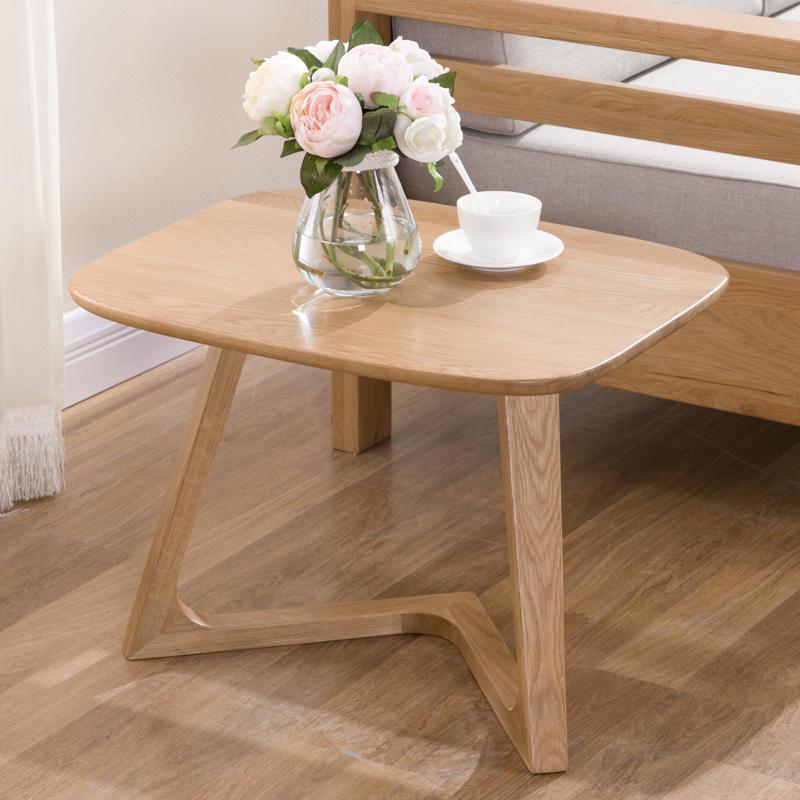 Home Decoration modern Living Room Furniturenatural wood color Solid square Wooden side Tea Table Design