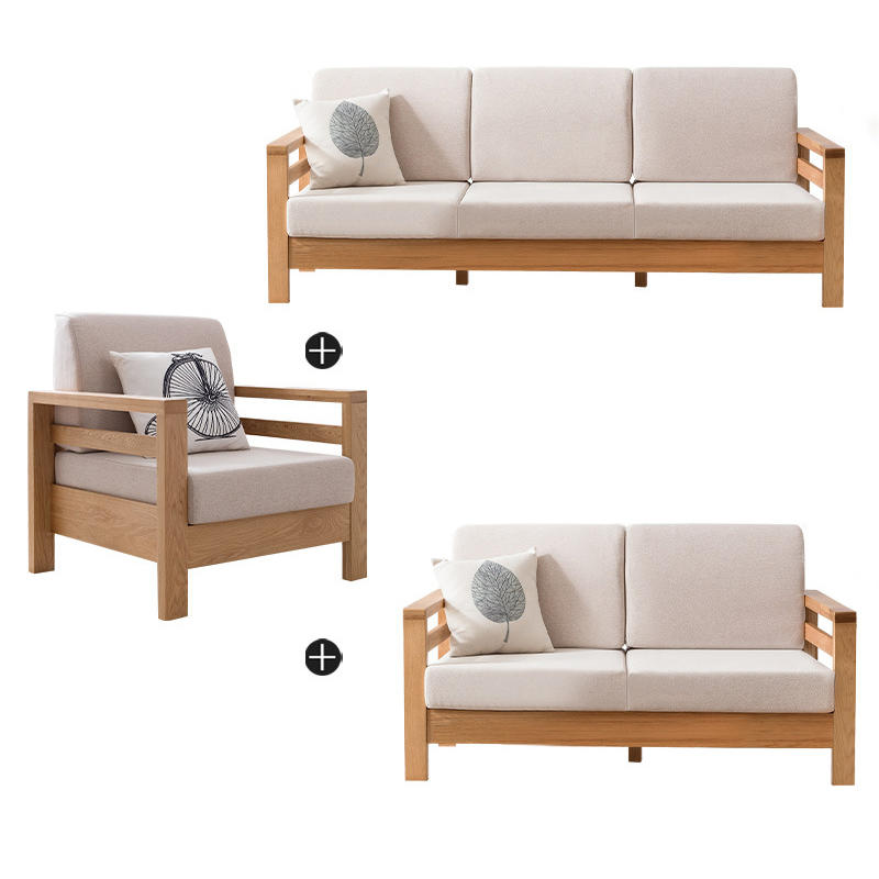 European new modle simple design custom popular natural solid wooden sectional sofa set with fabric cover for home furniture