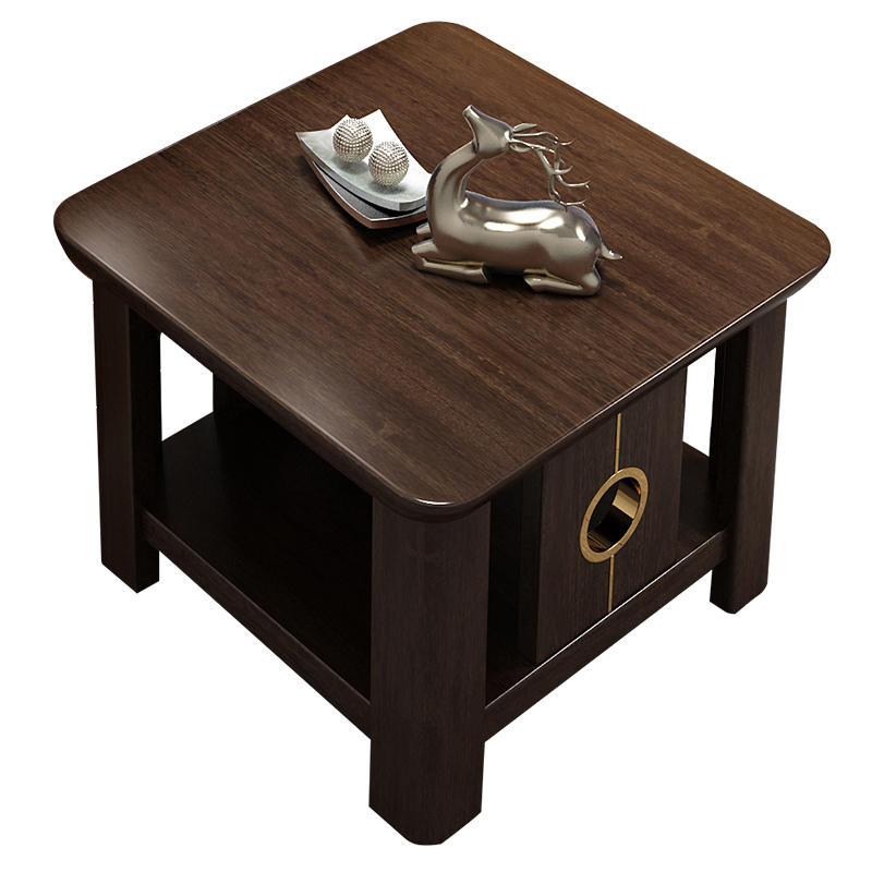Living Room Fashion Design Modern base small luxury Wood wax oil quadrate side table with Copper foot for the livingroom