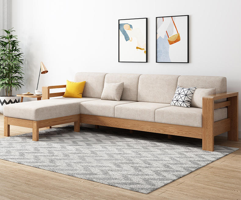 Nordic simple design custom ternd 4-seater solid wooden sectional sofa set with fabric cover for lining room furniture