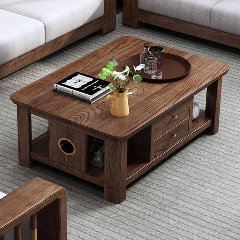 2020 Multifunctionals hot sale nordic style center tea table modern wooden coffee table with storage boxes for the livingroom