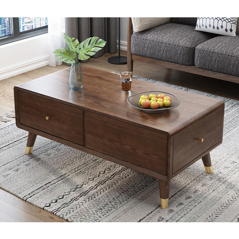 2020 Living room furniture design Solid WoodNordic Design white ash Contemporary Coffee Tea Table with drawers