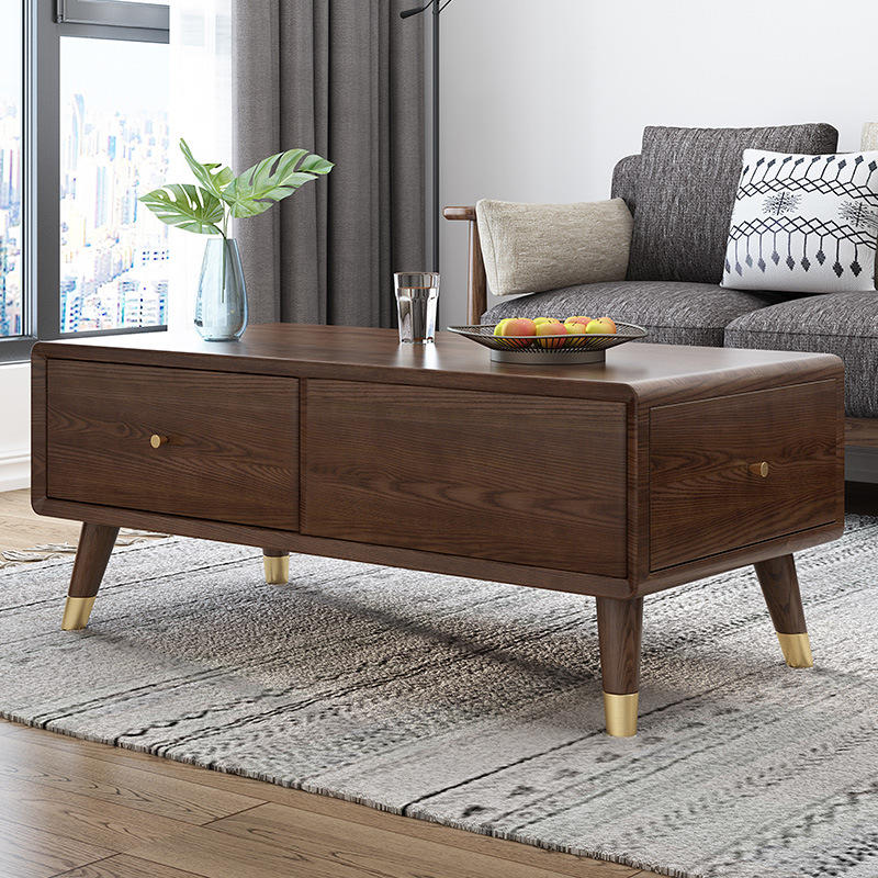 2020 solid wooden coffee table modern Chinese walnut color concrete rustic luxury