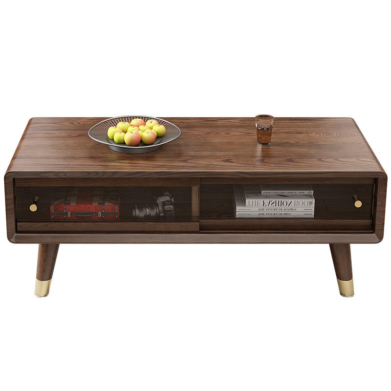 solid wooden coffee table modern Chinese walnut color high-end hot sales special offer for living room