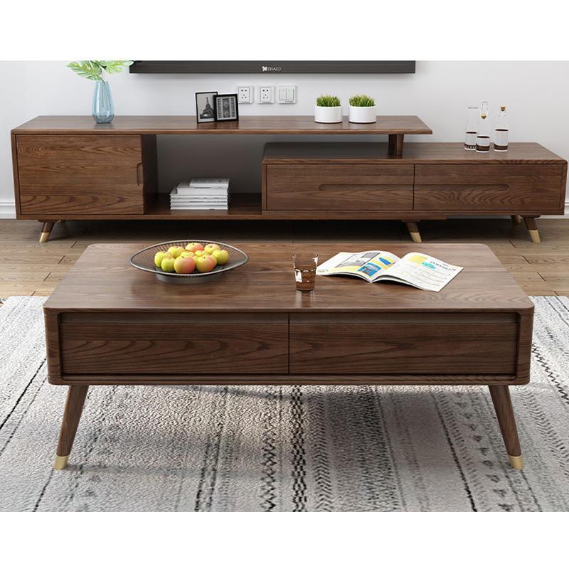 Customizable Modern Living Room Furniture Center two color optional soild wood tea table double deck wood tea table