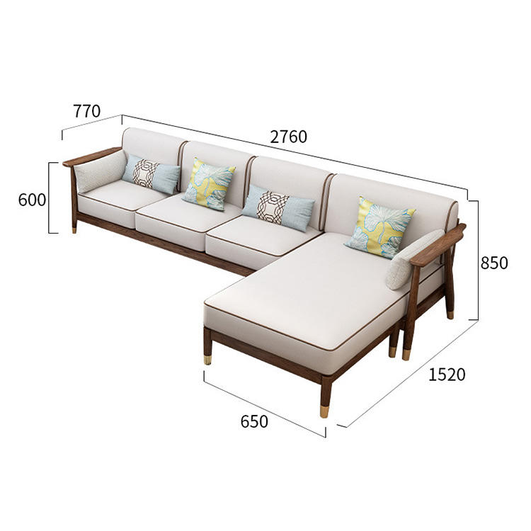 factory Outlet new arrival 3 seaters with Chaise couch creative fashionable customizable modern lounge home solid wood sofa set