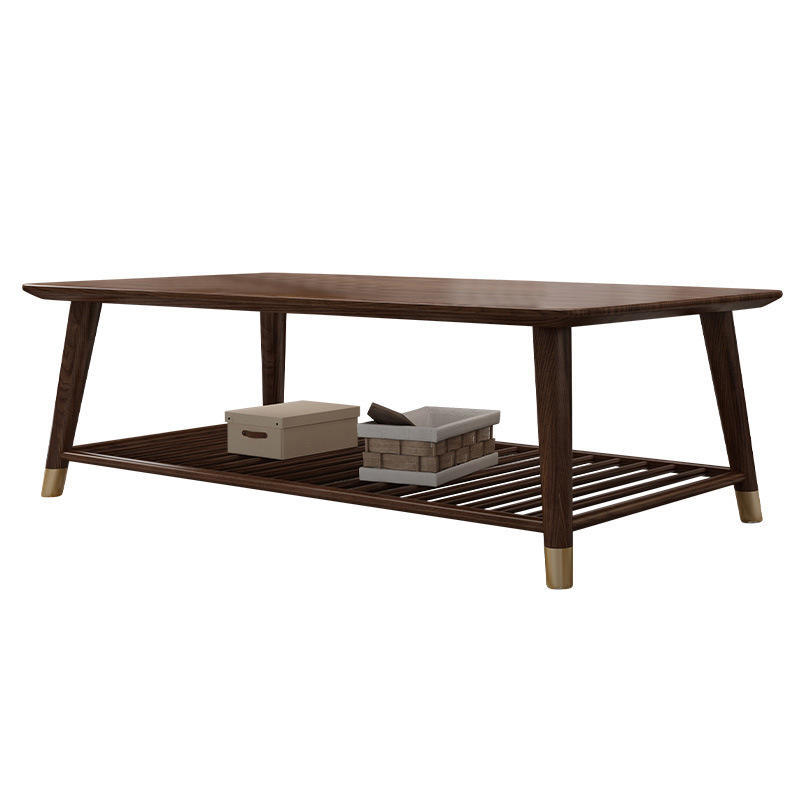 real wood Chinese tea table wooden traditional center table with copper foot modern wood simple coffee table for living room