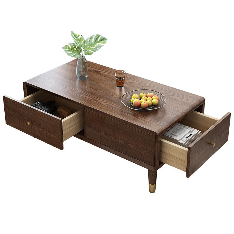 solid wood coffee table wooden center table with copper foot modern wood coffee table with drawer for living room