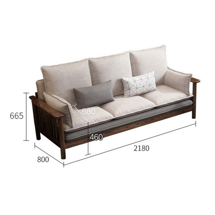 living room net red Nordic latest modern literary special offer freely combinable walnut 3 sizes solid wood sofa sets design