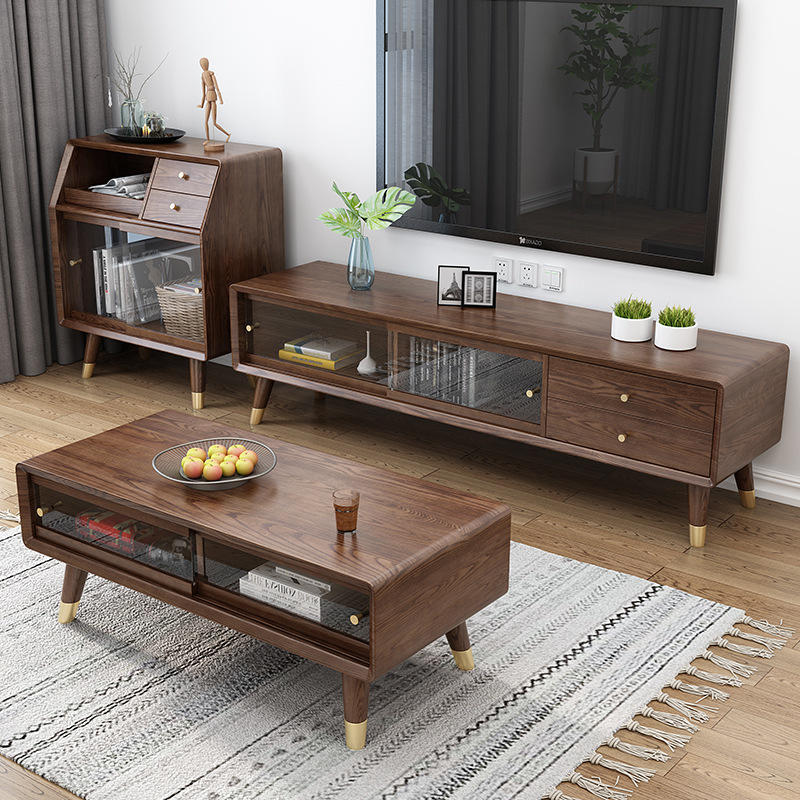 solid wood coffee table wooden center table with copper foot modern wood holding coffee table with sliding doorfor living room