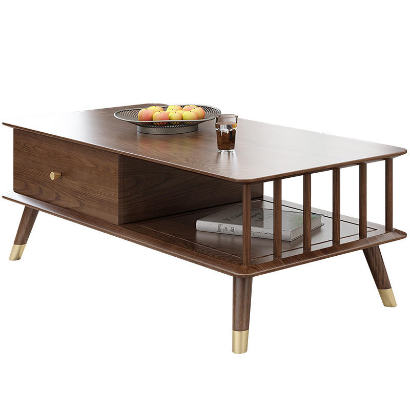 solid wood coffee table furniturewooden center tablemodern wood holding coffee table with drawersfor living room