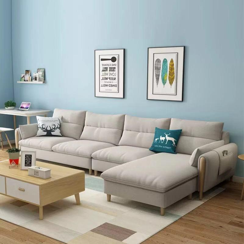 solid wood fabric sofa with chaise couch set wooden couch factory custom home luxury corner modern new for living room furniture