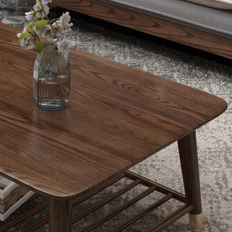 HOT sale morden customizable natural solidl wood grain brass feet wooden centre cafe coffee table for living room furniture