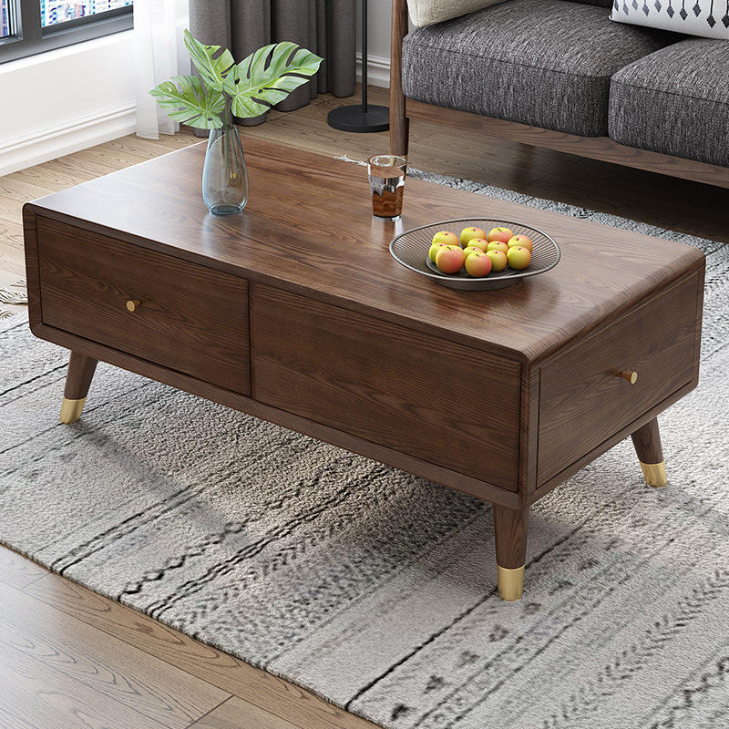 Factory supplier top sell storage popular high-end white ash copper feet solid wood coffee table with 2 drawers wholesale retail