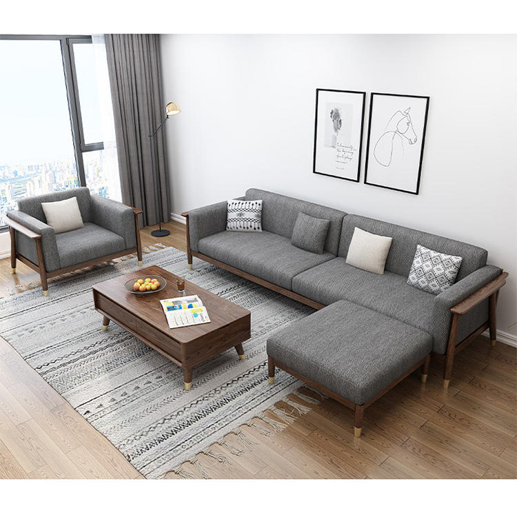 home furniture hot sale ins nordic simple design customizable durable walnut color sectional solid wood sofa sets with couch