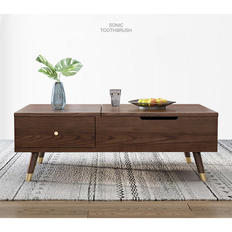 Walnut color white ash hot sale new list design storage creative high quality modern copper feet lift solid wood coffee table