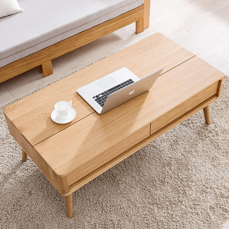 China furniture manufacturer customizable hot sale net red ins lounge white oak lift solid wood coffee table with storage space