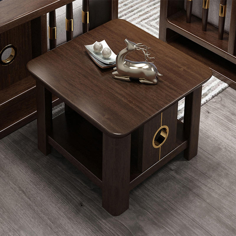 wholesale living room modern European Style Partical walnut color small square wood side tea table design modern coffee table