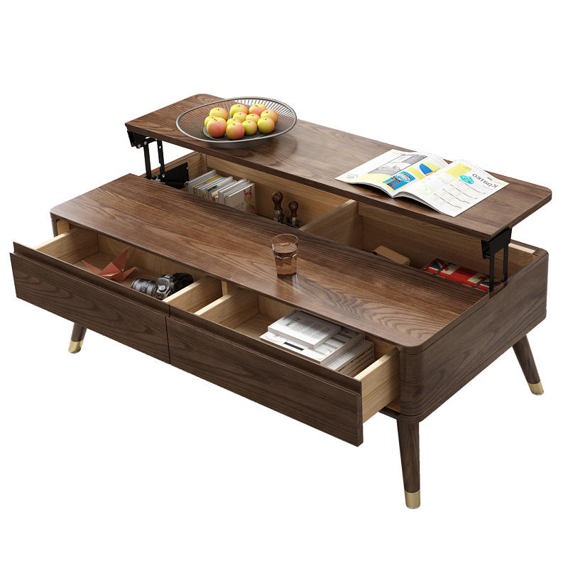 Morden custom supported adjustable height lift top wooden cafe coffee table living room furniture
