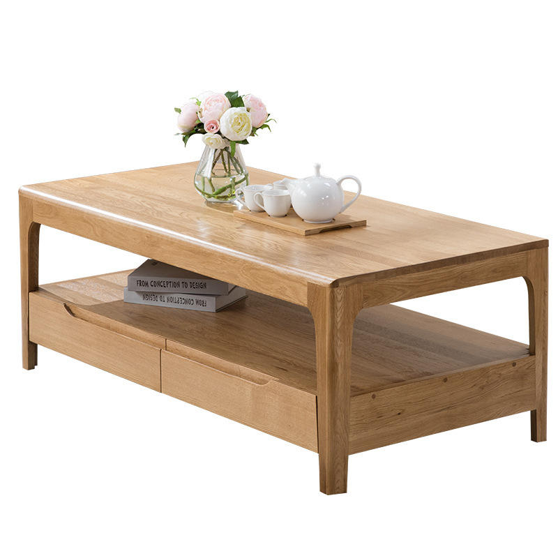 Living room leisure wood color white oak good quality special price rectangle solid wood coffee table wholesale retail