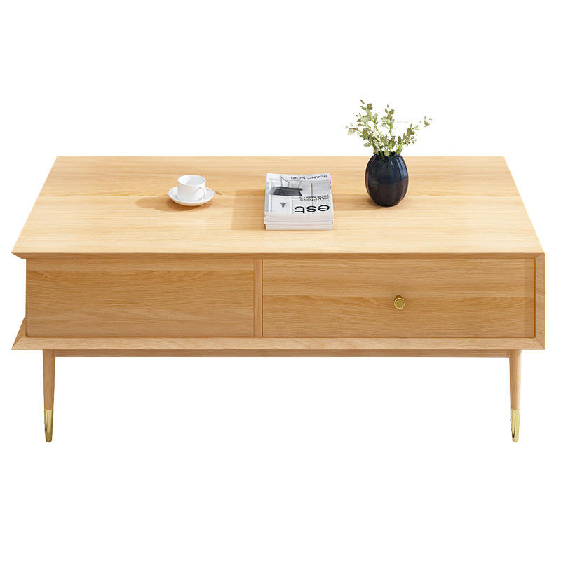 Morden custom solid ash wooden tea table coffee table with brass feet and handles and 2 drawers living room furniture