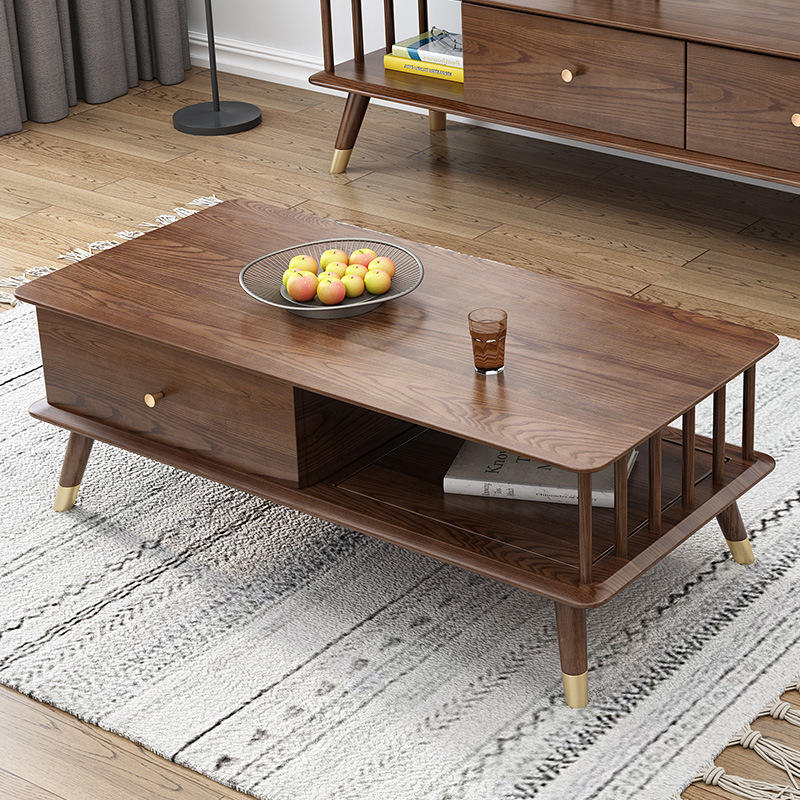 Ningbo European style Factory Salesmodern new design wooden storage soild wood tea table for the living room