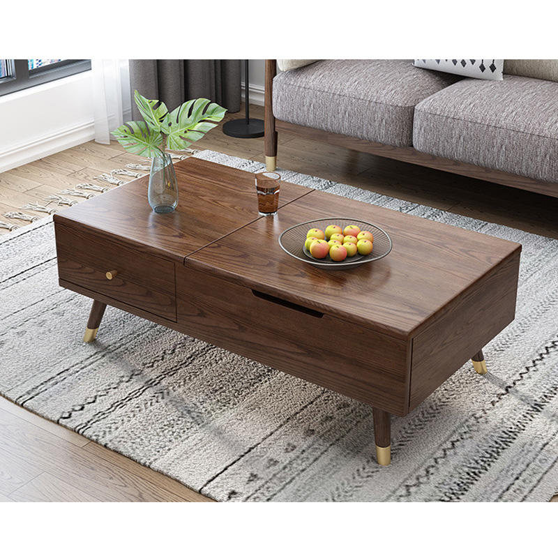 Luxury Modern living furniture sets Square soild wooden Elevating tea table with customized size for special offer
