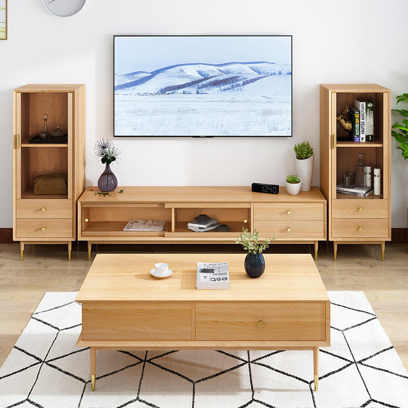 Fashion design furniture living room high quality special offer natural style modern soild wood tea table with drawers