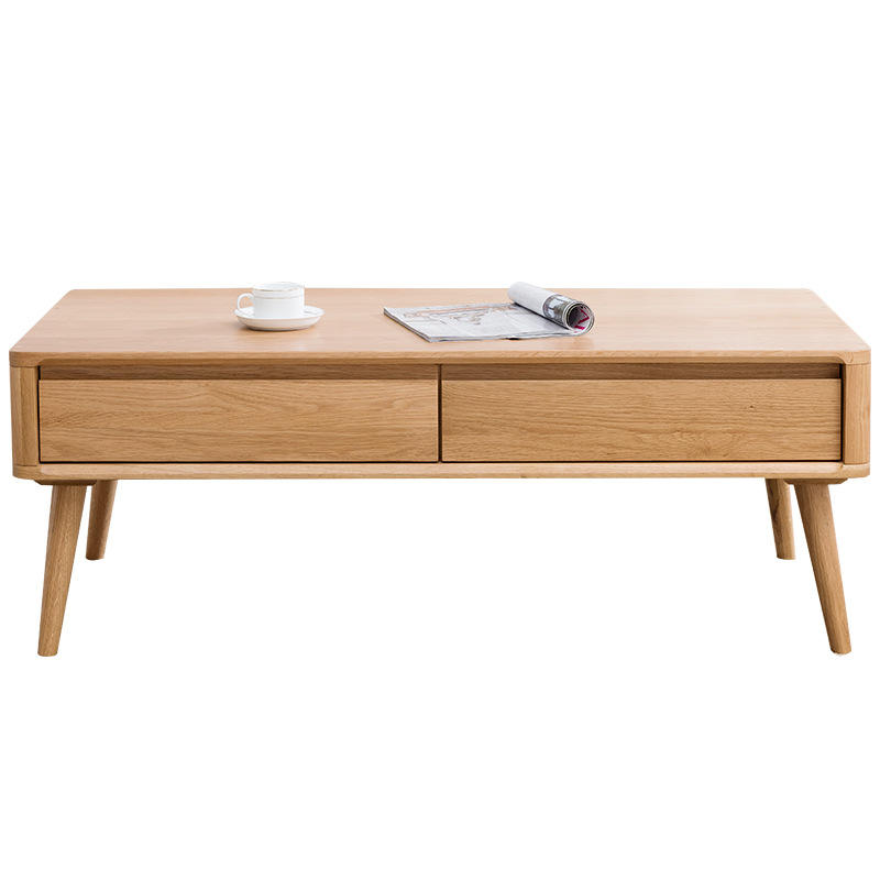 Morden HOT SALE custom high quality natural solid wooden tea coffee table with 2 drawers for living room furniture