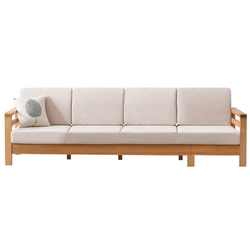 Boomdeer living room latest modern design simple lounge sofa many sizescomposable wooden sofa set with fabric furniture home