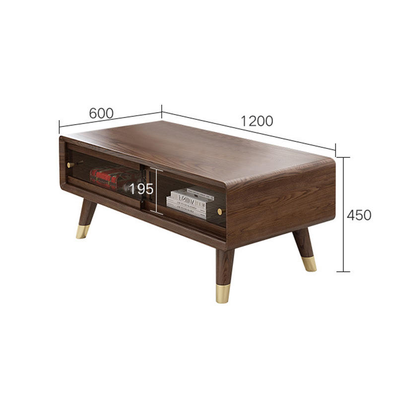 Dark Glass Brown Wooden Set Storage Solid Live Edge Natural Wood Coffee Table