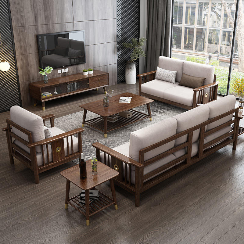 BOOMDEER morden custom latest design living room Special Offer Fabric one two and three solild woodsofa by using white ash