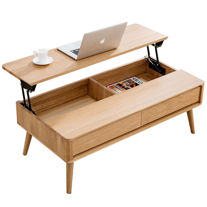 High Quality Modern Solid Wooden Designs Living Room Sets Adjustable Dining Home Furniture Coffee Table Nordic Style