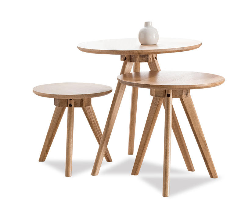 Simple modern design corner wooden round coffee table furniture round side table for living room