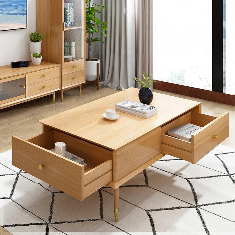 Boomdeer Solid Wood Home Usage Wooden Solid Wood Tea Table Sofa Centre Table With Storage