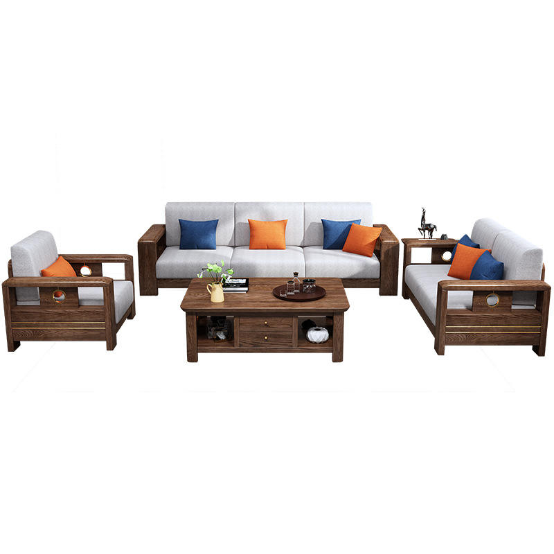 BOOMDEER morden custom design living room Special Offer morden Fabric one two and three solild wood sofa by using Wood wax oi l