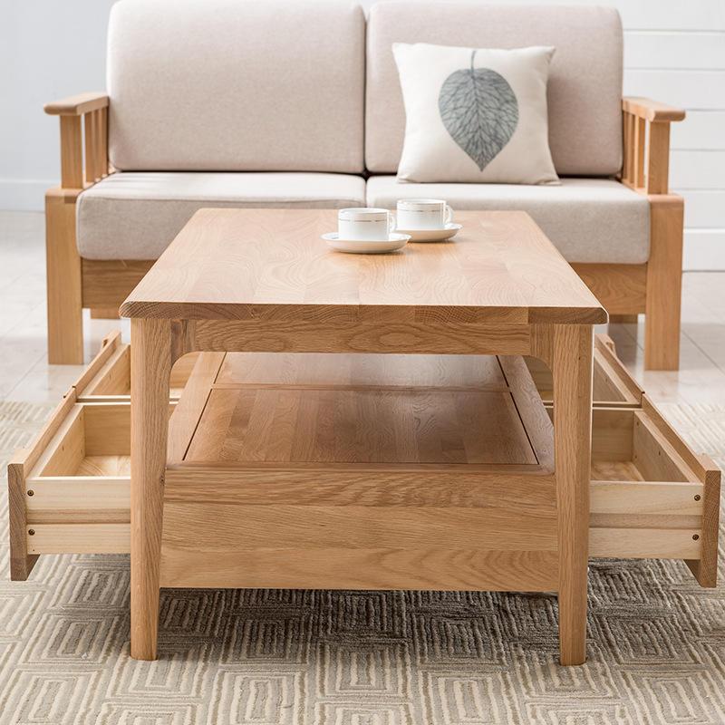 modern nature solid oak wood coffee table for livingroom furniture