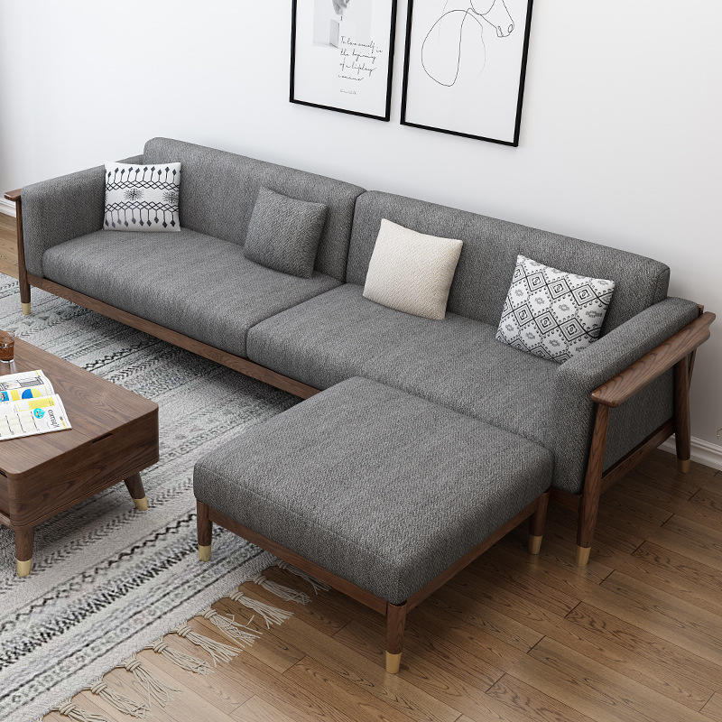 BOOMDEER morden custom new design living room Special Offer morden Fabric one two three and four solild wood walnut color sofa