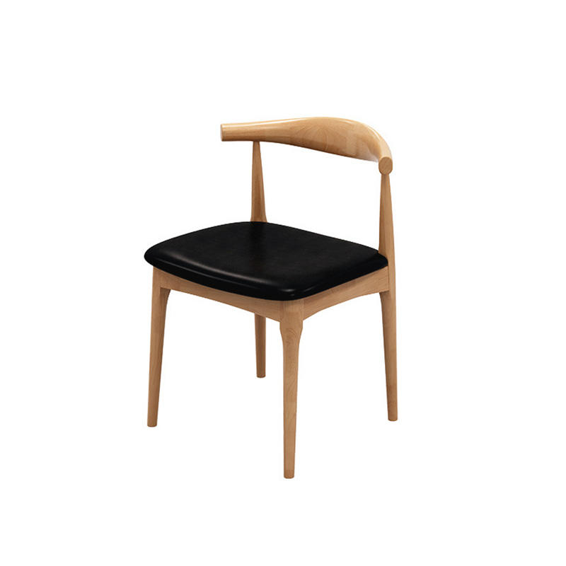 customize light weight minimal luxury soild wooden fabric Oxhorn dining chair low moq for dining room