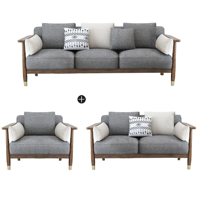 BOOMDEER morden customdesign living room Special OfferFabric one two three and four solild woodsofa by using white ash