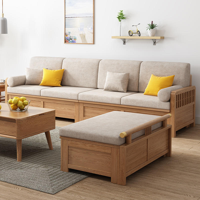 BOOMDEER luxury morden custom latest design living room Special OfferFabric four seat solild wooden sofa by using Wood wax oil