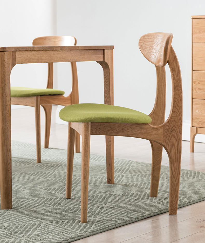 White oak natural wood color hot sale low price fabric modern wood dining chair with wooden legs for dining room
