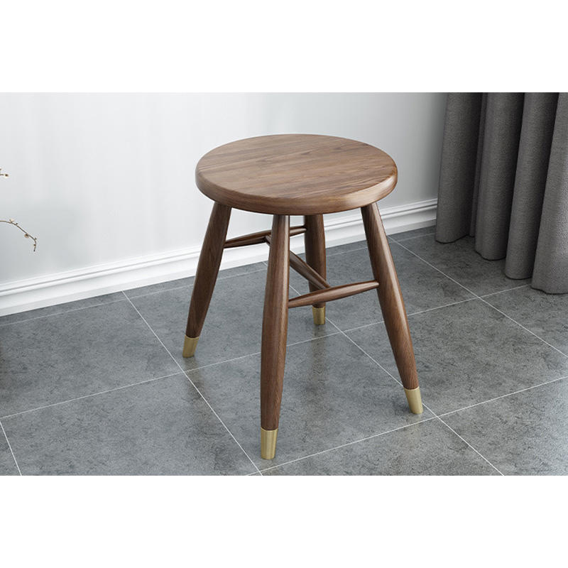 Hot sale Factory Wholesale luxury indoor home furniture soild wood round dining chair with cooper foot