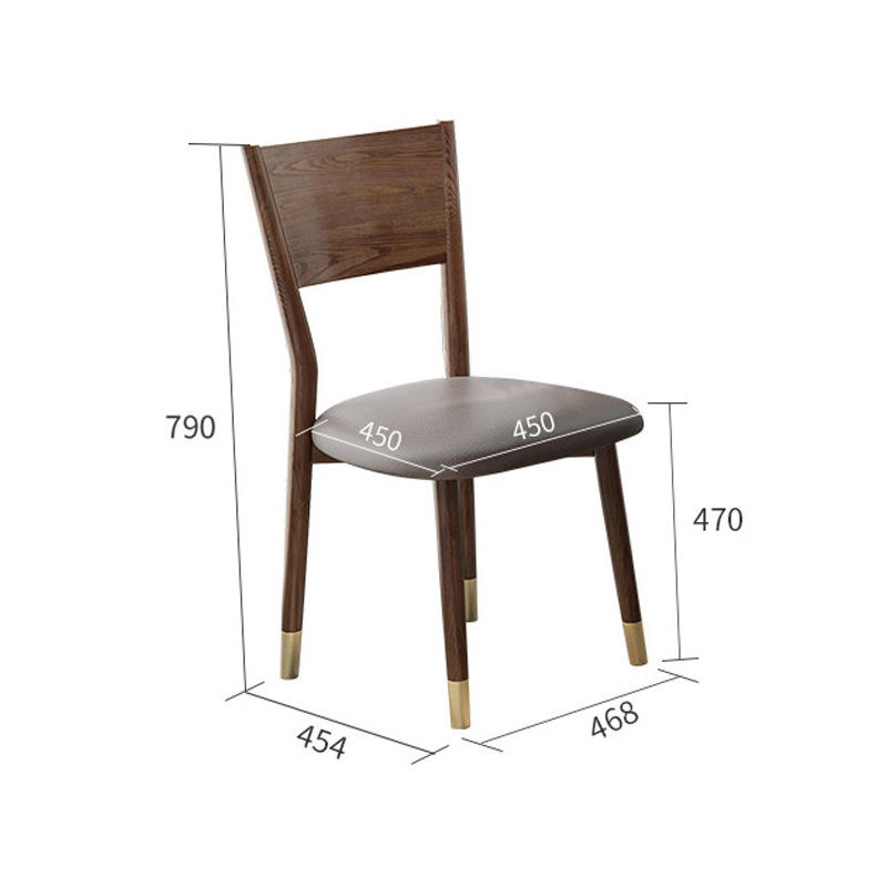 durable luxury high-end style net red simple solid wood dining chair restaurant