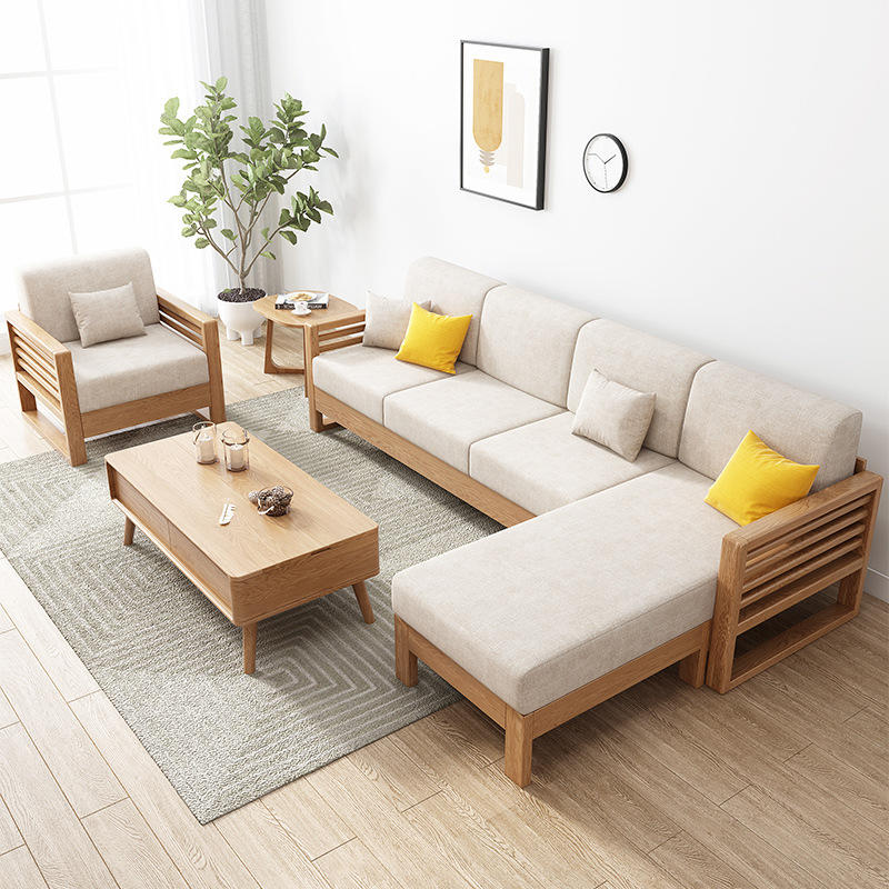 BOOMDEER morden customdesign living room Special OfferFabric one two three and four seats solild wood by using Wood wax oil