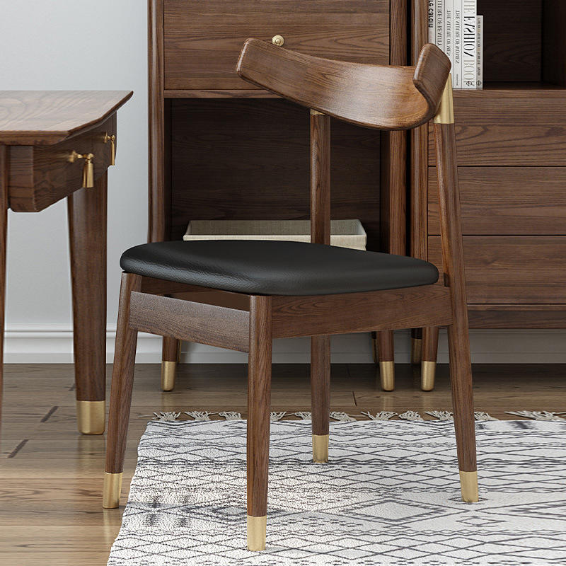 wood dining tables with leather chairs Nordic leather seat wooden leg dining chair solid woodchairsfor dining room